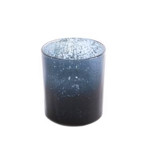 Theelichthouder glas blauw zilver large