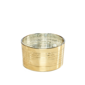 Theelichthouder glas goud stripes laag