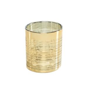 Theelichthouder glas goud stripes hoog